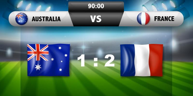 Austalija vs Prancuzija - sporto statymai suminiai daugiau/mažiau
