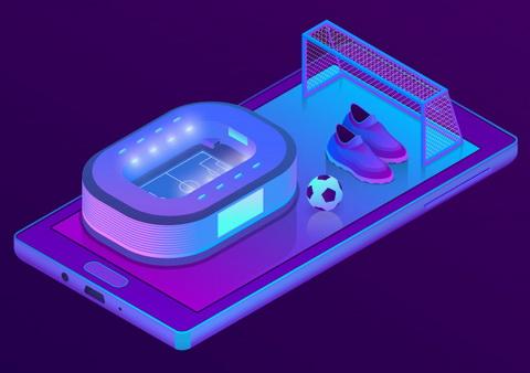 Mobilusis telefonas, futbolo aikštė ir kamuolys
